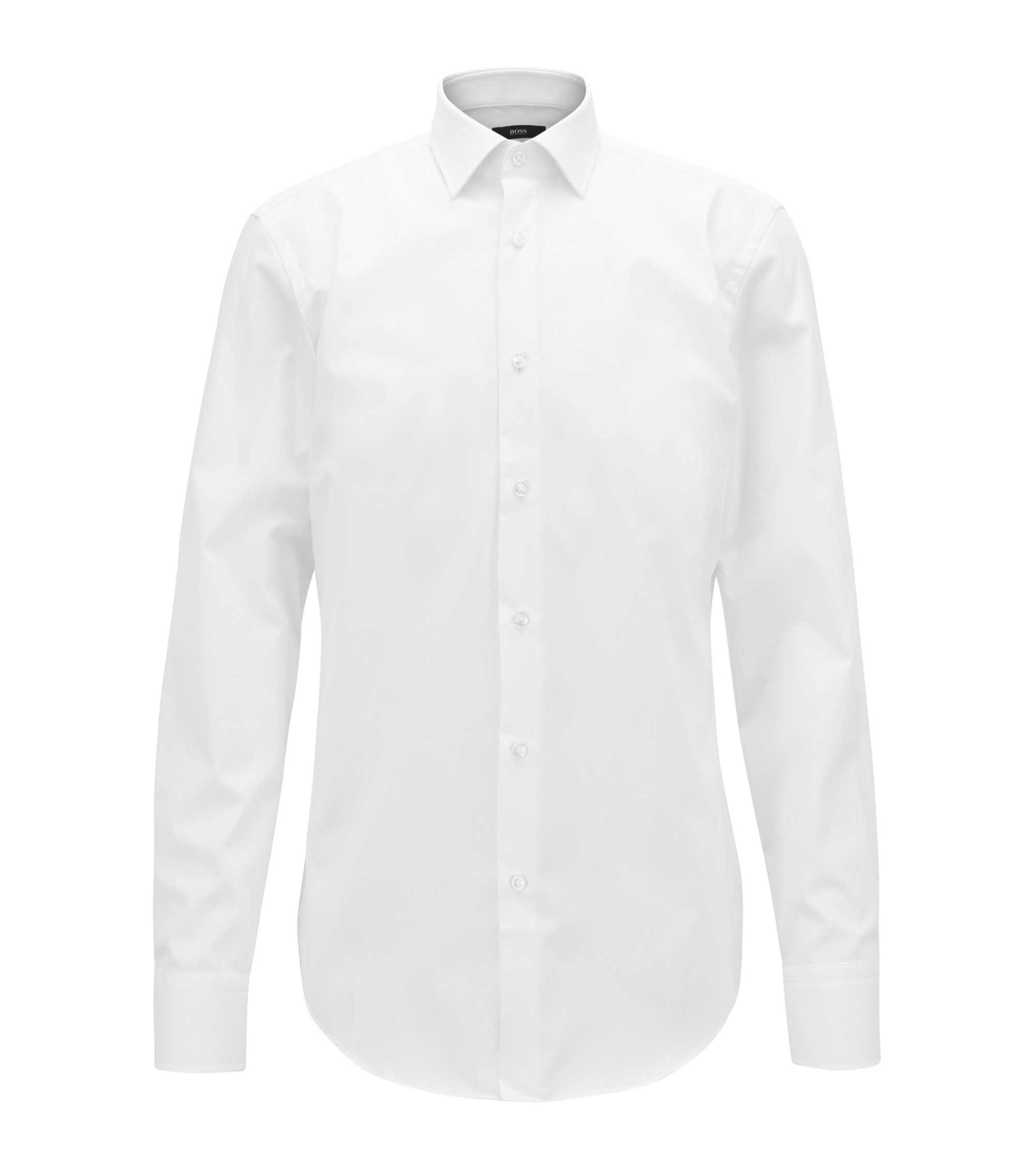 Easy-Iron Italian Cotton Dress Shirt, Slim Fit | Jenno , White