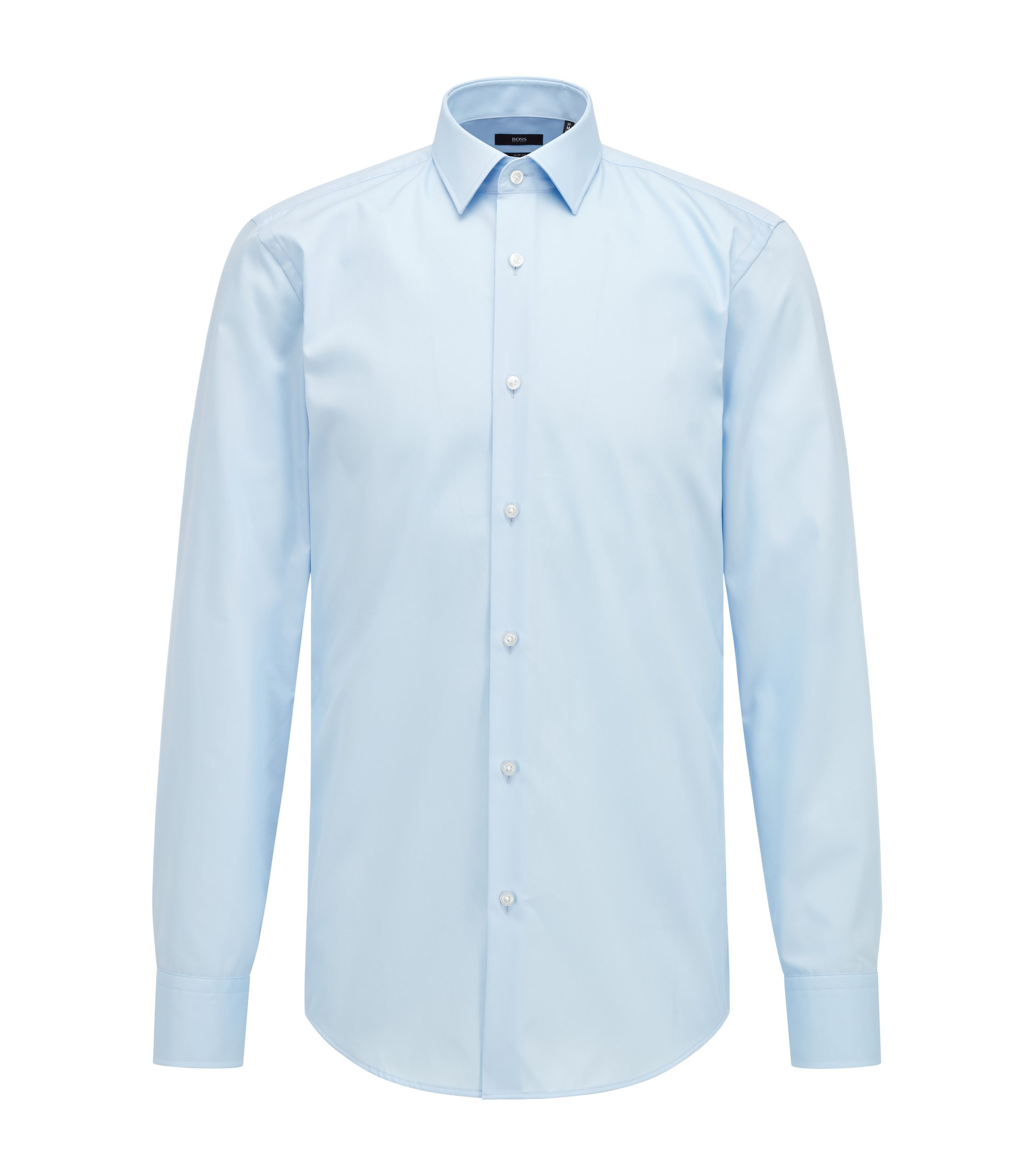 Easy-Iron Italian Cotton Dress Shirt, Slim Fit | Jenno , Light Blue