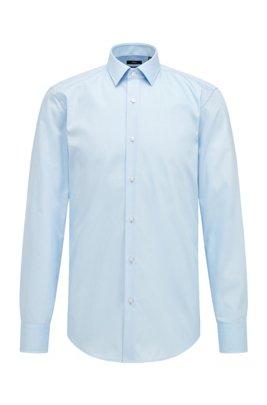 Slim-fit business shirt in cotton poplin, Light Blue