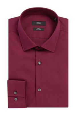 Easy-Iron Italian Cotton Dress Shirt, Slim Fit | Jenno , Dark Purple