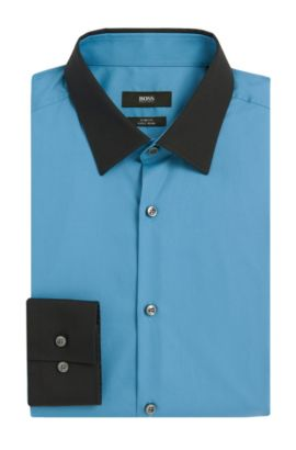 Easy-Iron Italian Cotton Dress Shirt, Slim Fit | Jonnes  , Open Blue
