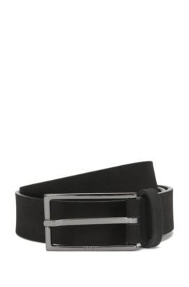 'Gerbert Sz Nu' | Italian Nubuck Leather Belt, Black