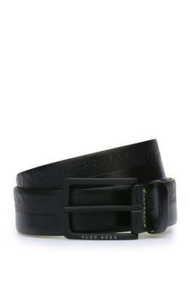 'Toluca' | Embossed Leather Belt, Black