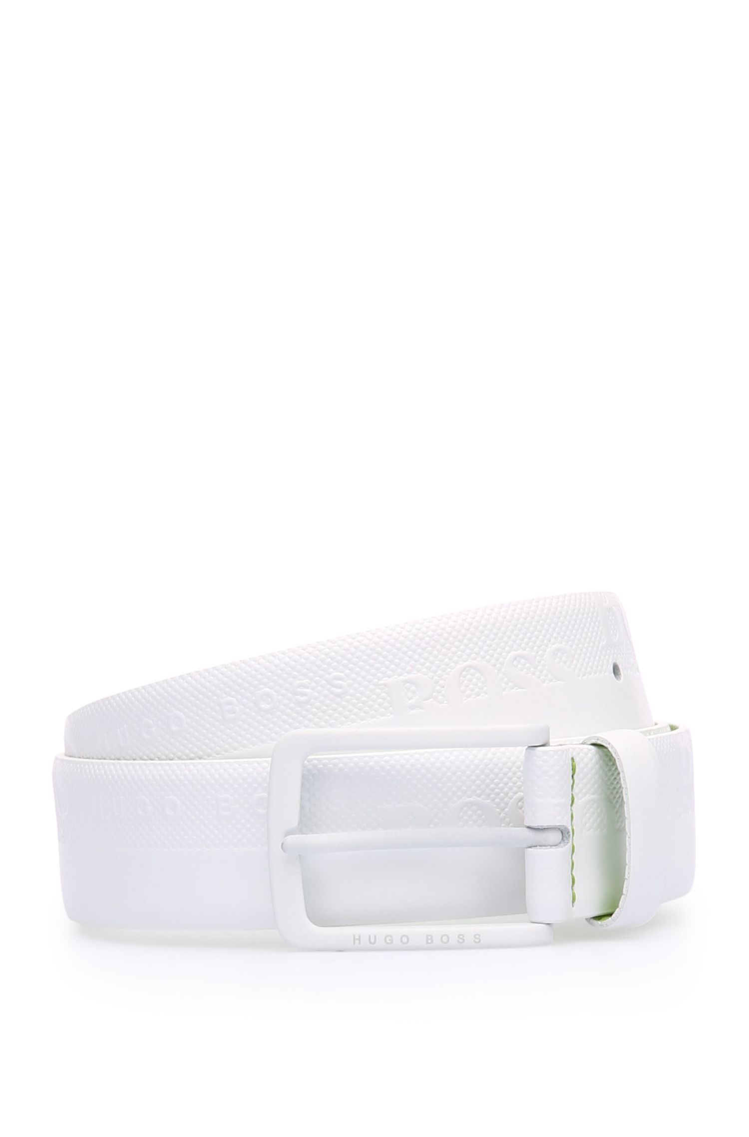 Embossed Leather Belt | Toluca, White