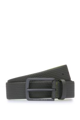 'Teres Sz35 Item' | Leather Textured Belt, Charcoal