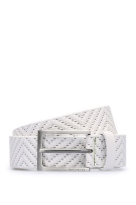 'Turi Sz35 Item' | Embossed Leather Belt, White