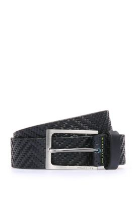 'Turi Sz35 Item' | Embossed Leather Belt, Dark Blue
