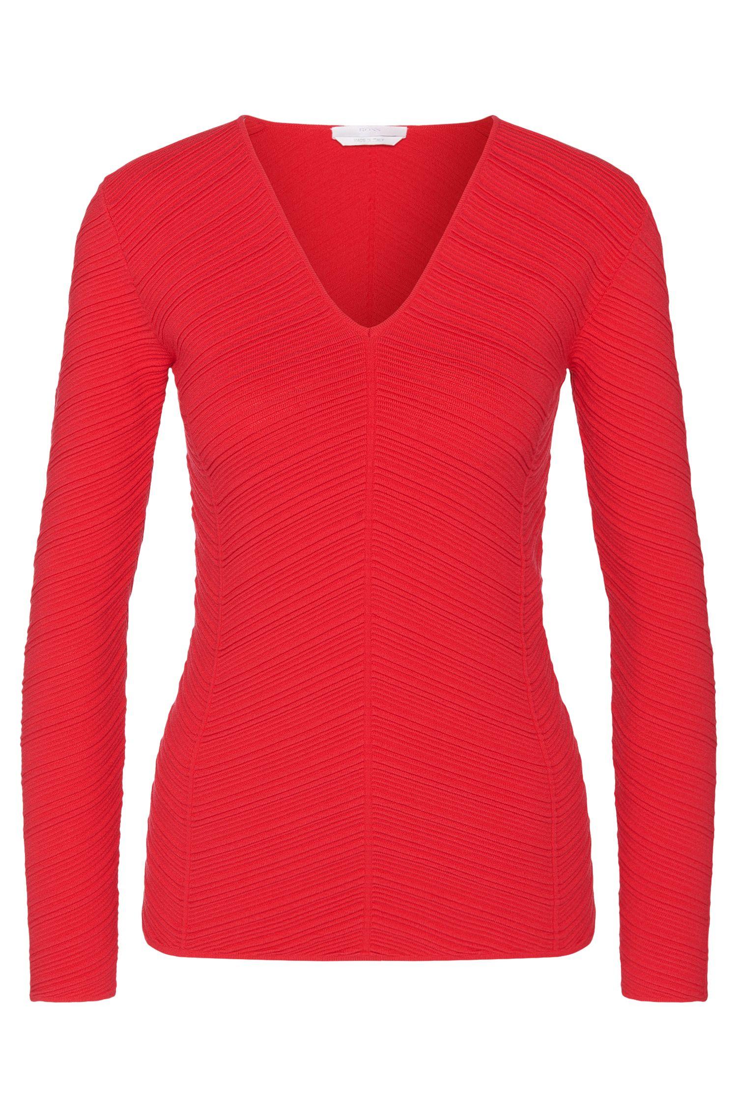 Ottoman V-Neck Sweater | Faizah, Dark pink