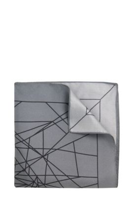 Patterned Italian Silk Pocket Square, Grey