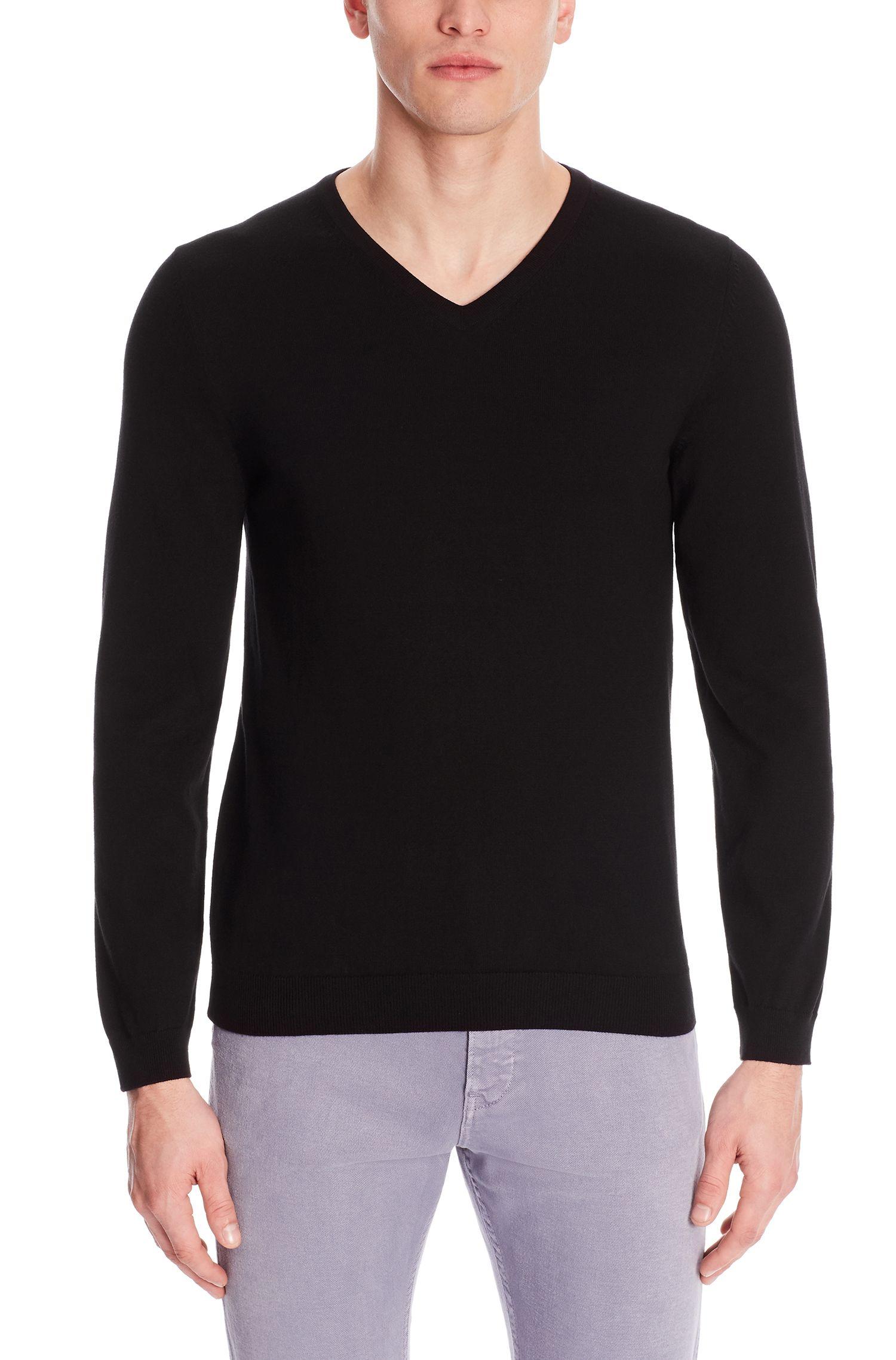 'Fioro' | Italian Cotton V-Neck Sweater, Black