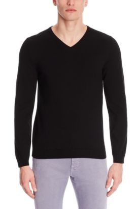 'Fioro' | Italian Cotton V-Neck Sweater, Black
