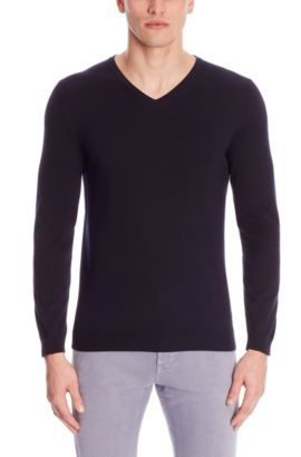 'Fioro' | Italian Cotton V-Neck Sweater, Dark Blue