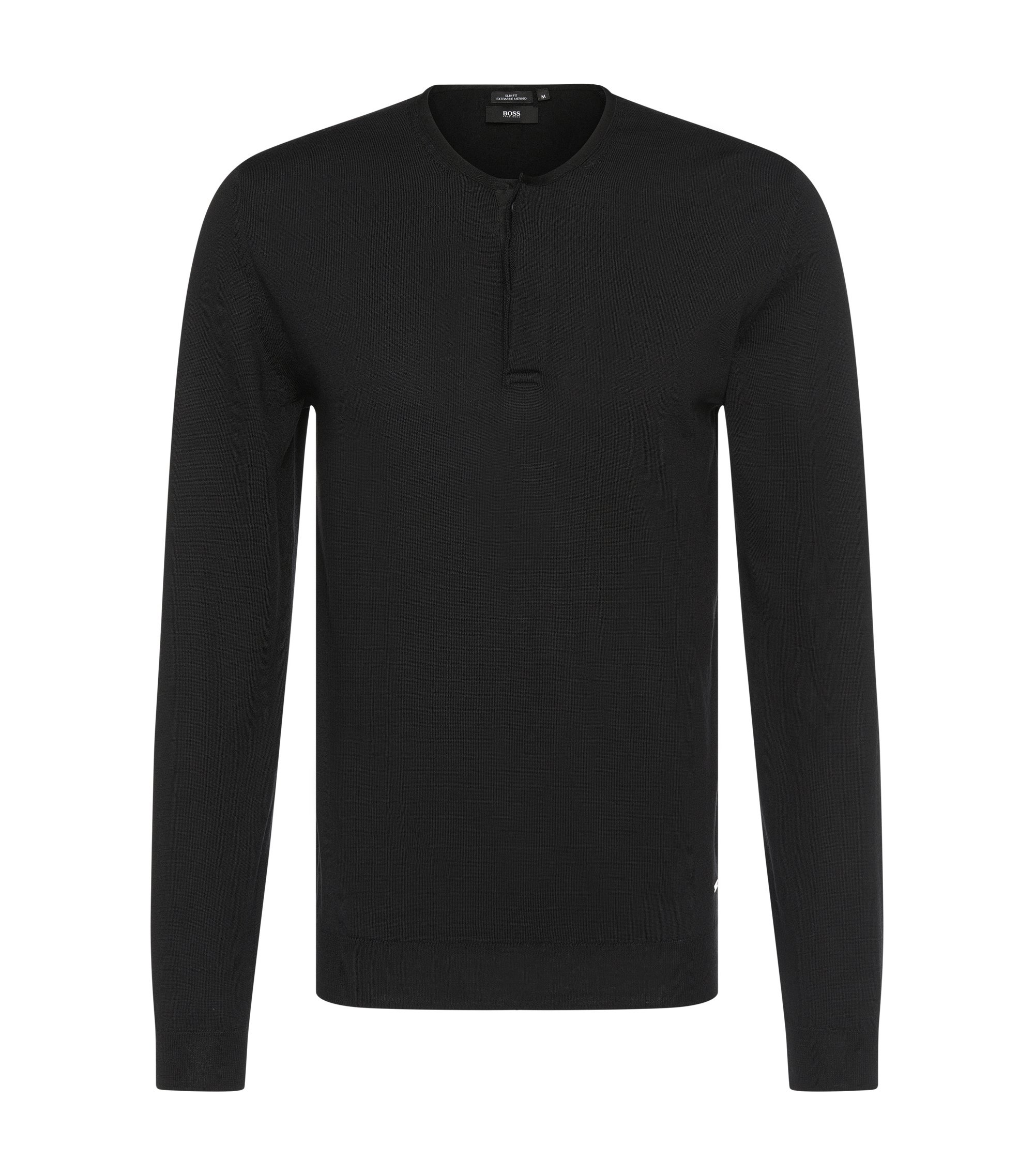 'Isaac' | Extra Fine Merino Virgin Wool Henley Sweater, Black