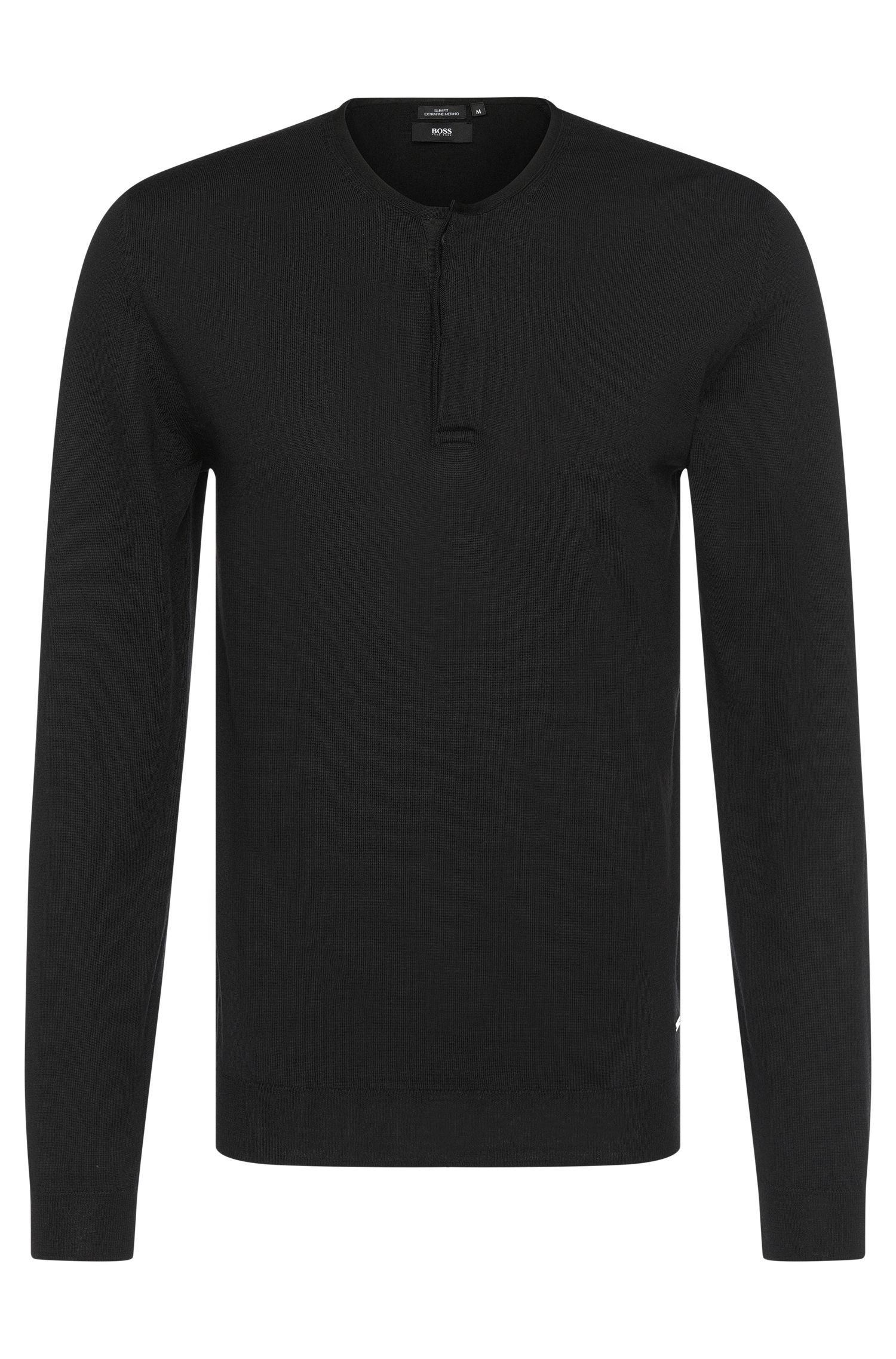 'Isaac' | Extra Fine Merino Virgin Wool Henley Sweater