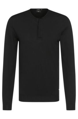 'Isaac' | Extra Fine Merino Virgin Wool Henley Sweater, Black