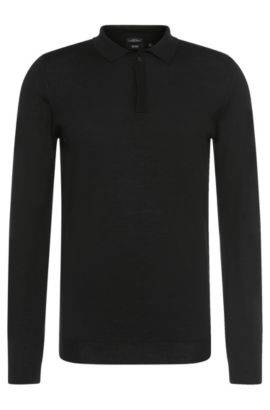 'Iden' | Slim Fit, Merino Virgin Wool Polo Sweater, Black
