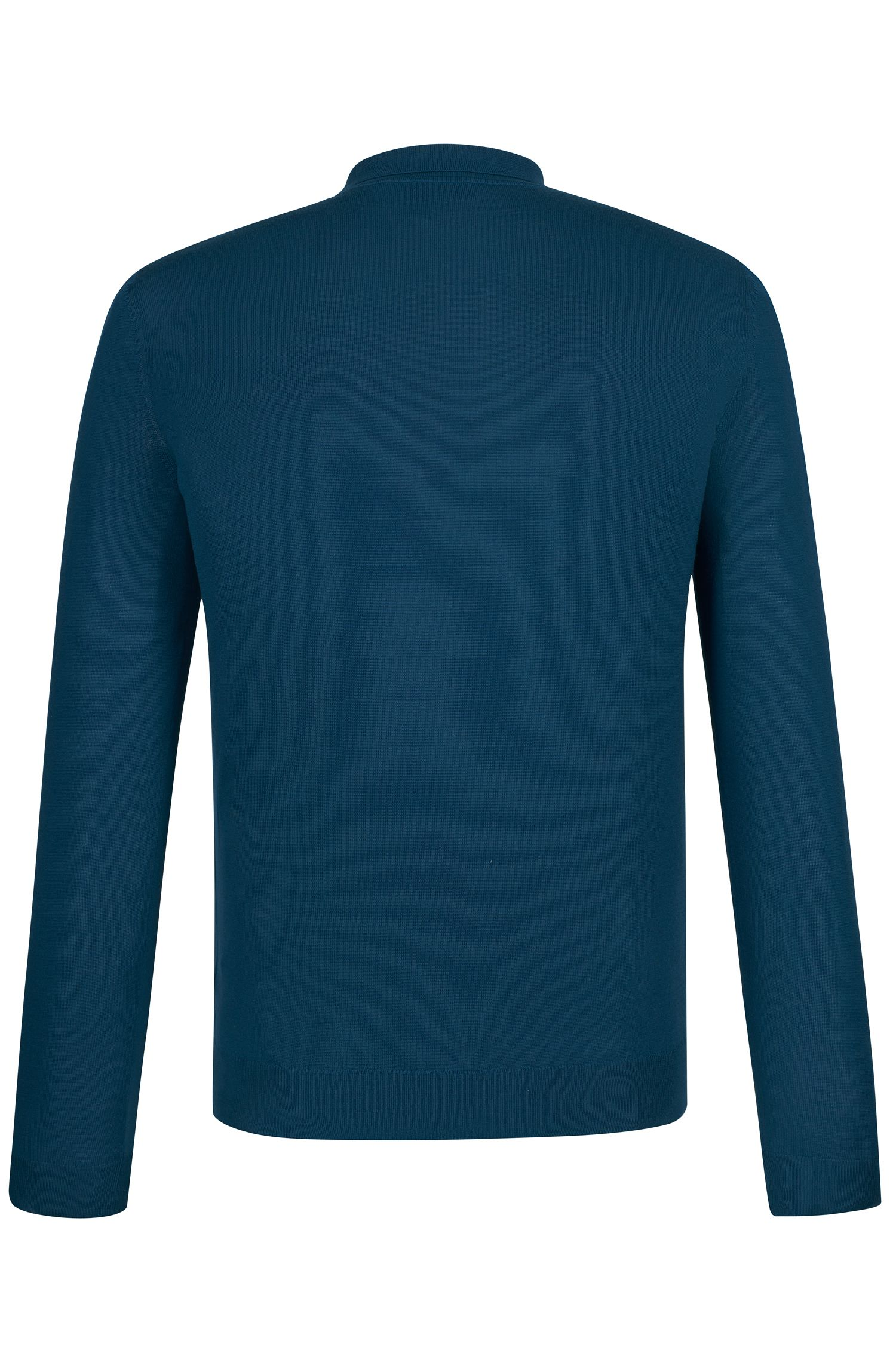 'Iden' | Slim Fit, Merino Virgin Wool Polo Sweater, Turquoise