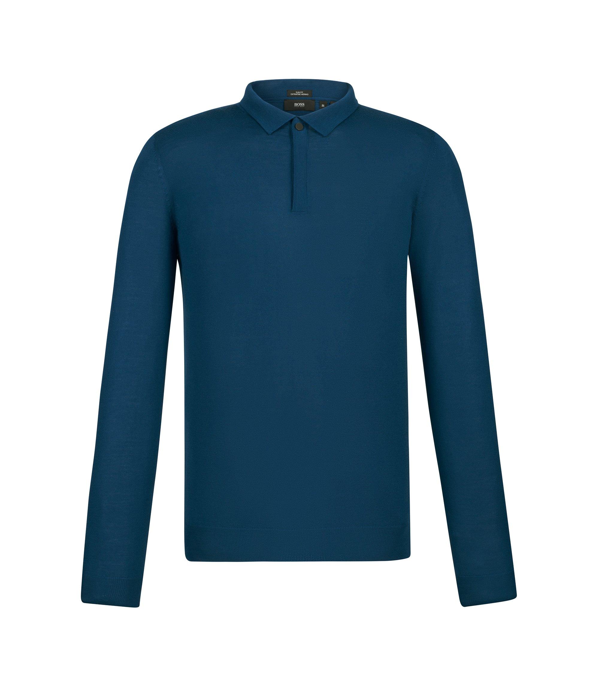 'Iden' | Slim Fit, Merino Virgin Wool Polo Sweater, Turquoise