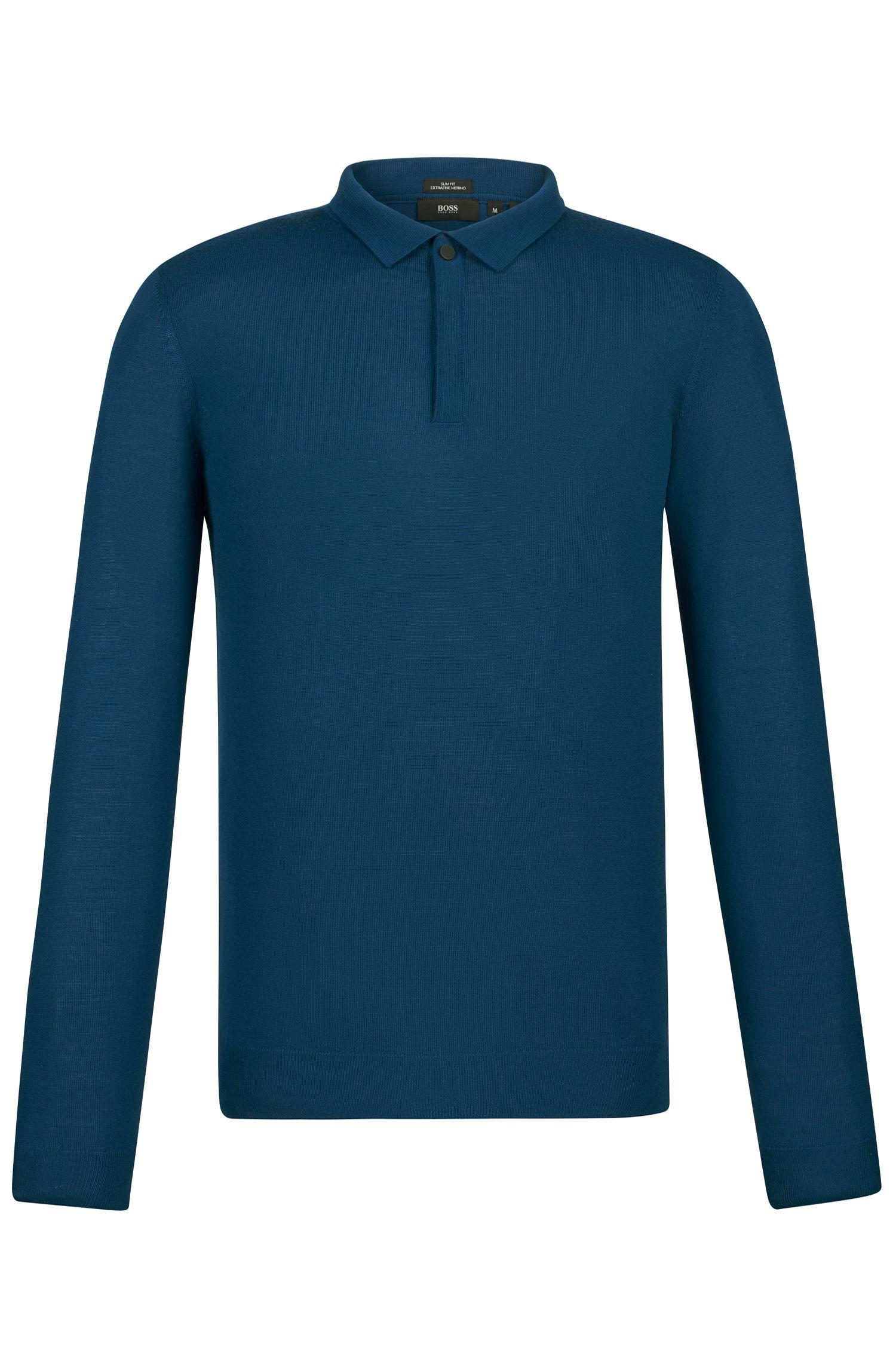'Iden' | Slim Fit, Merino Virgin Wool Polo Sweater