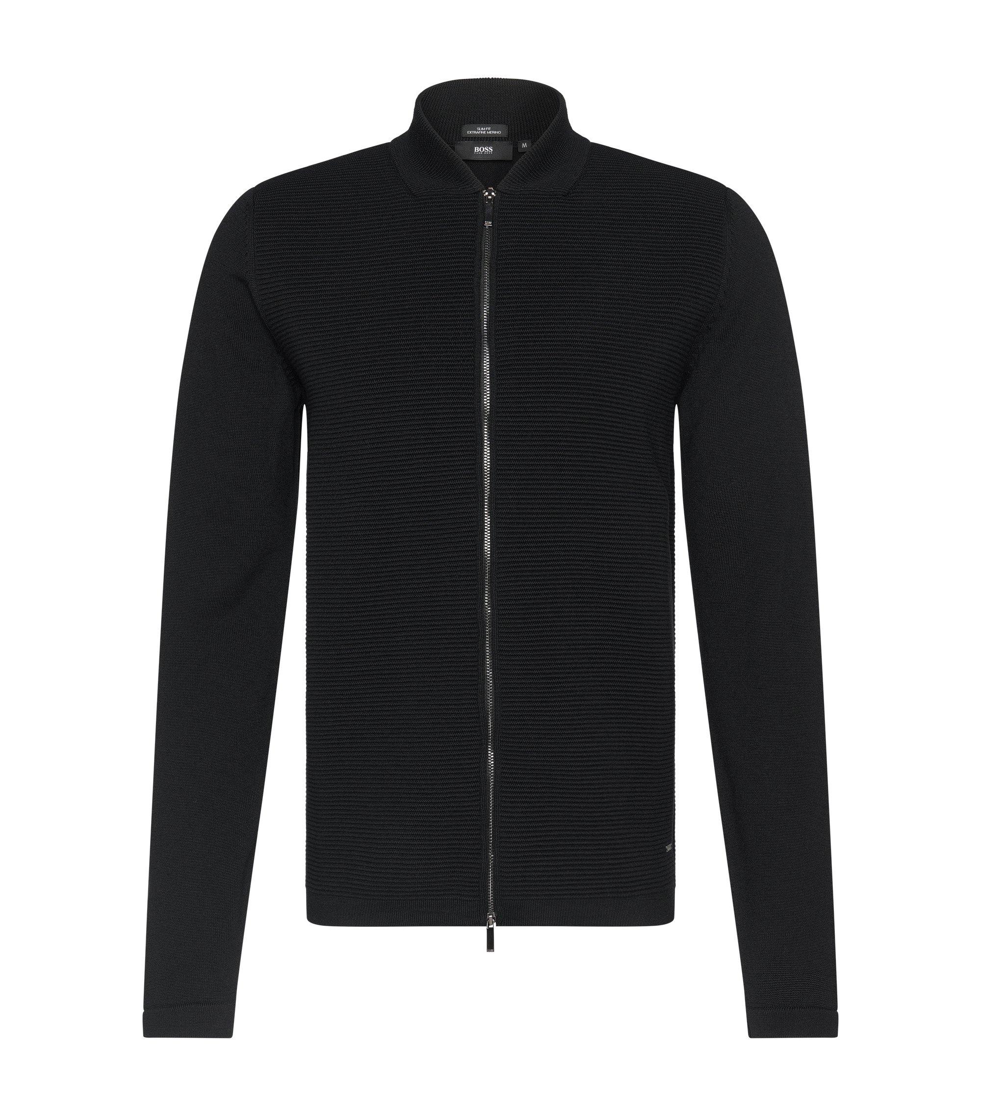 Virgin Wool Ottoman Zip Sweater Jacket | Inat, Black