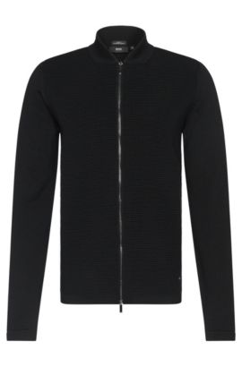 'Inat' | Virgin Wool Ottoman Zip Sweater Jacket, Black