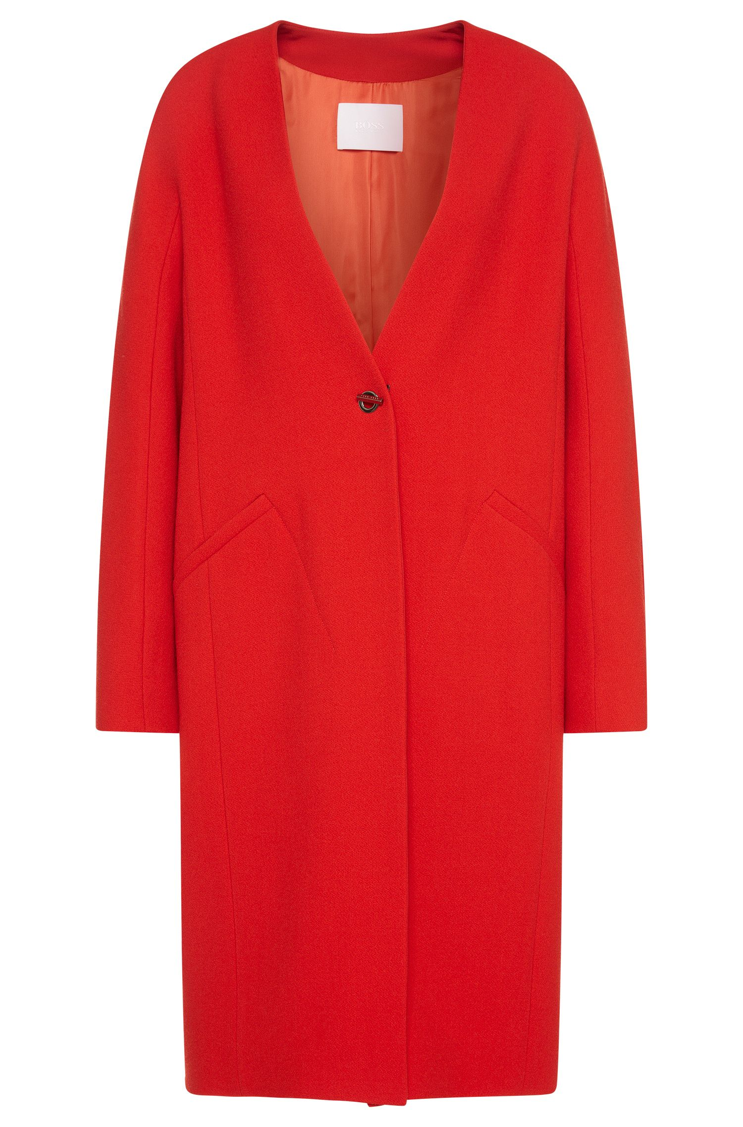 'Cubali' | Wool Blend Crepe Cocoon Coat