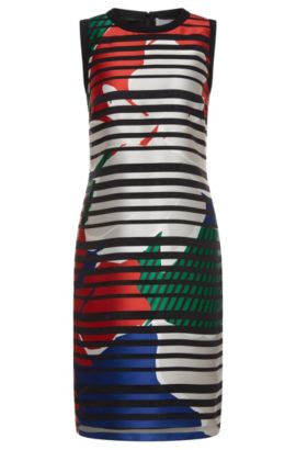 'Danya' | Silk Blend Printed Shift Dress, Patterned