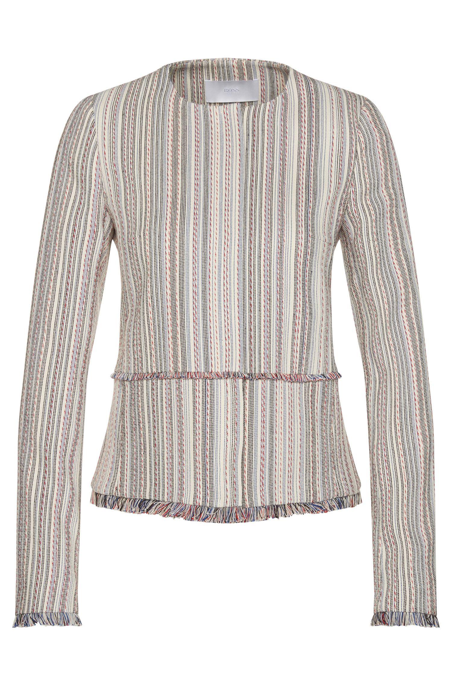 Multi-Stripe Cotton Blend Fringed Blazer | Kolara