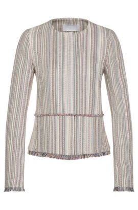 Multi-Stripe Cotton Blend Fringed Blazer | Kolara, Patterned