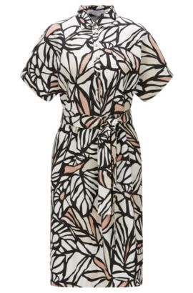 'Holera' | Printed Viscose Linen Shirt Dress, Patterned