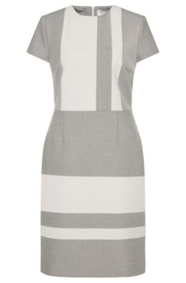 'Hermley' | Stretch Twill Colorblock A-Line Dress, Patterned