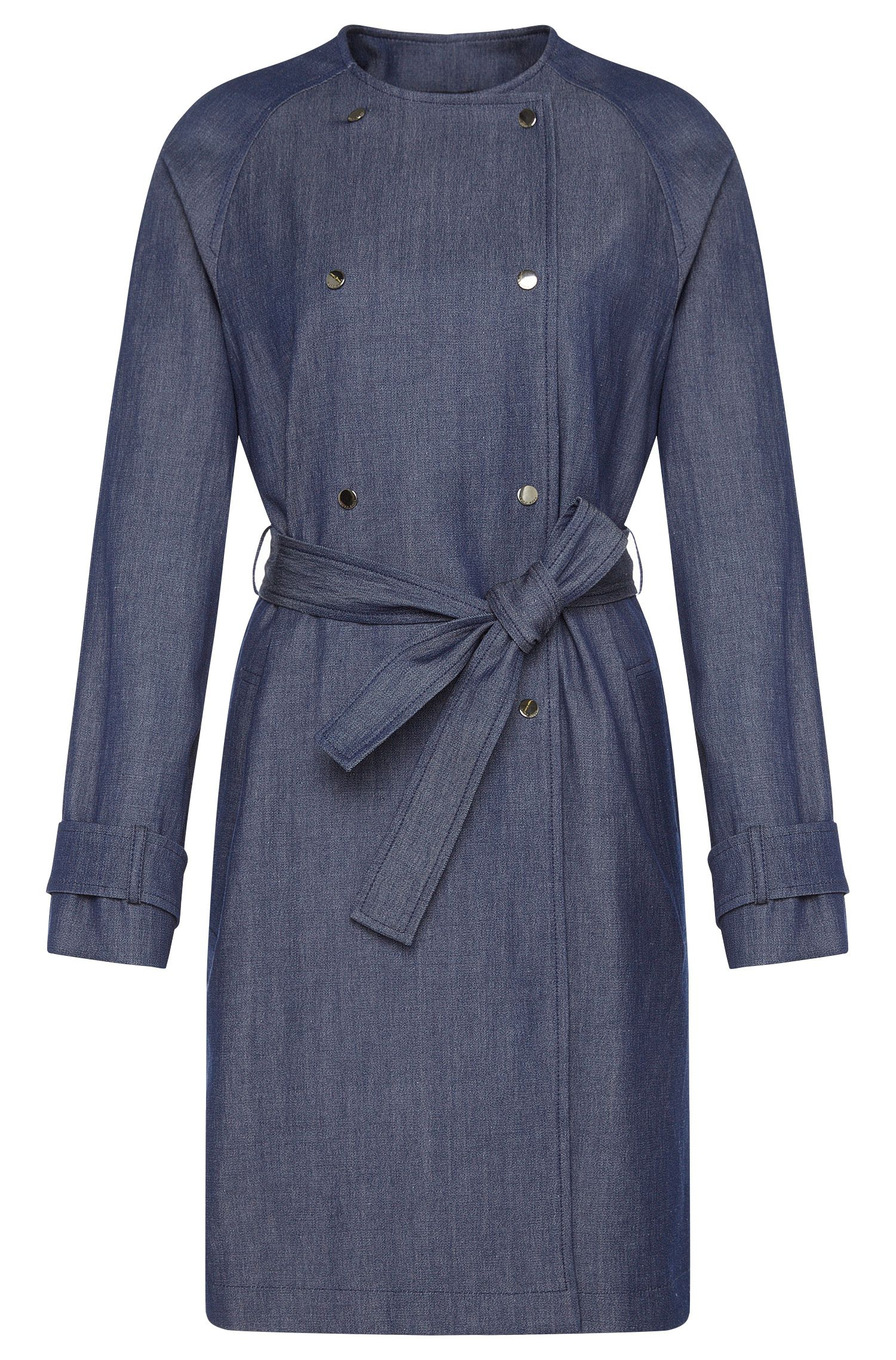 'Calrehna' | Stretch Virgin Wool Linen Cotton Denim Trench Coat