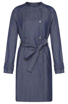 'Calrehna' | Stretch Virgin Wool Linen Cotton Denim Trench Coat, Open Blue