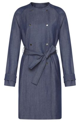 'Calrehna' | Stretch Virgin Wool Linen Cotton Denim Trench Coat, Open Blue