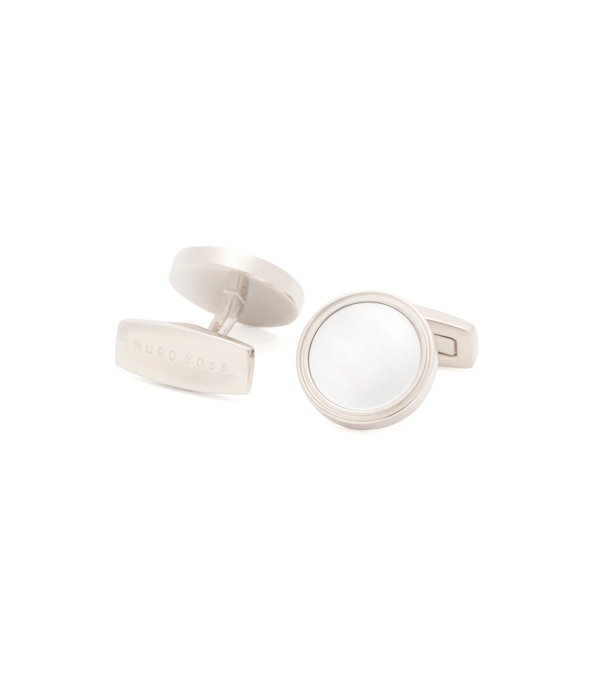 'T-Harvey' | Mother-Of-Pearl Brass Cufflinks, White