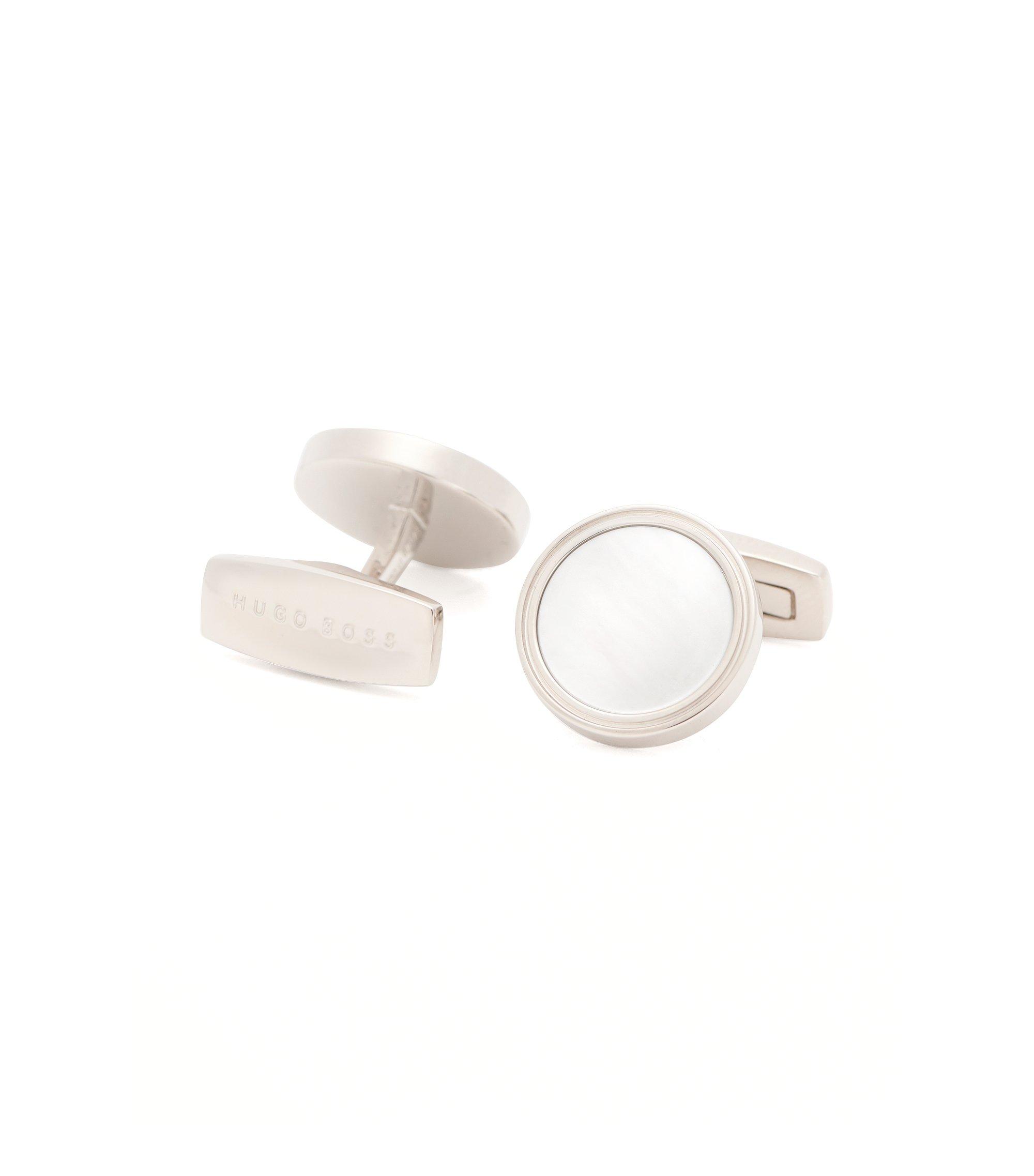 'T-Harvey' | Mother-Of-Pearl Brass Cufflinks, White