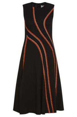 'FS_Derici' | Contrast Wool Stripe A-Line Dress, Black