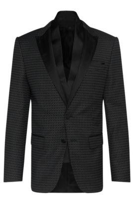 'Havit' | Slim Fit, Stretch Cotton Blend Dinner Jacket, Scarf, Black
