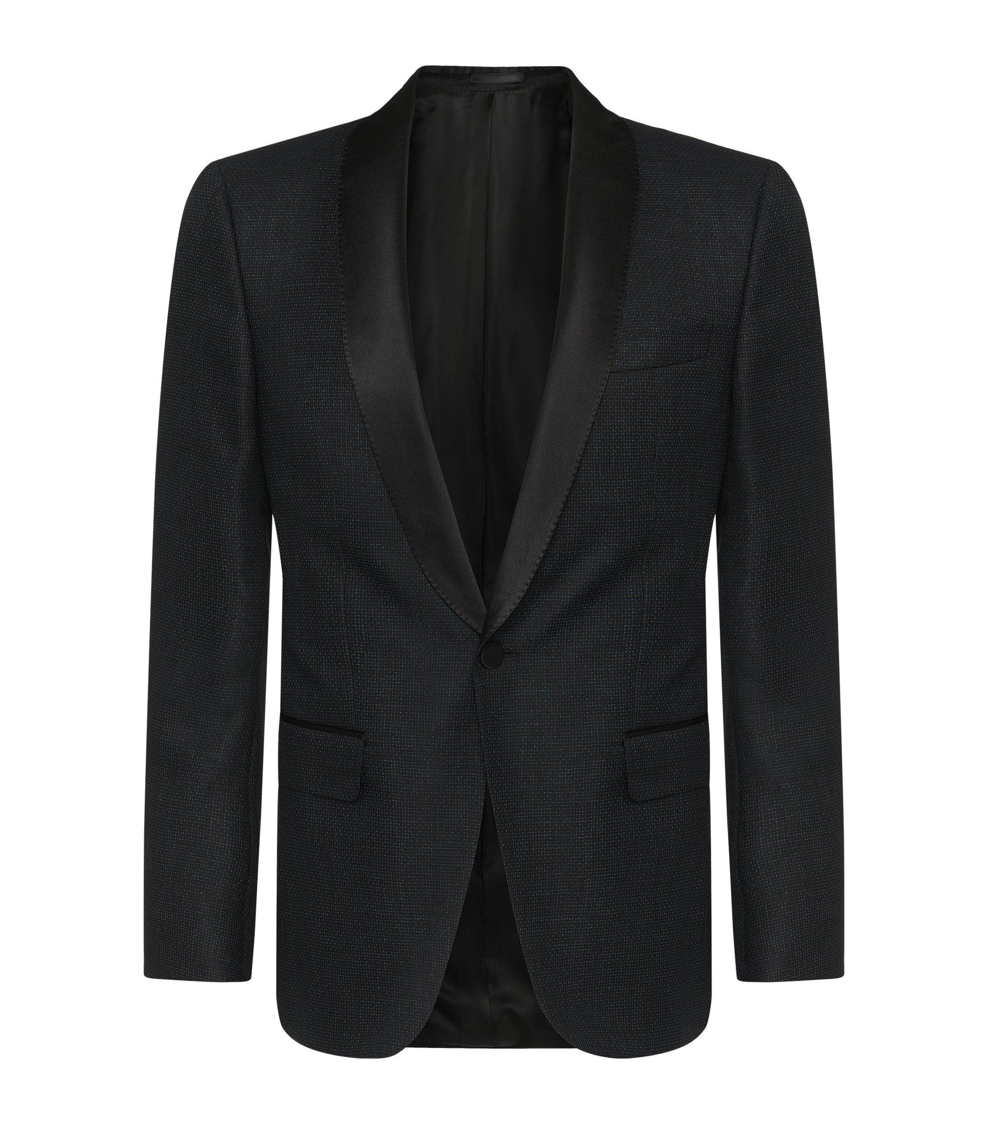 Italian Virgin Wool Blend Metallic Dinner Jacket, Slim Fit | Hockley, Black