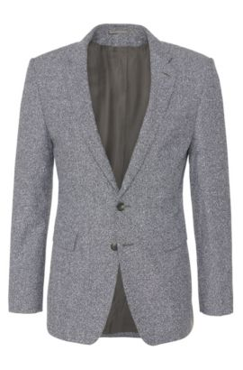 'T-Raven' | Extra Slim Fit, Italian Virgin Wool Cotton Blend Sport Coat, Grey