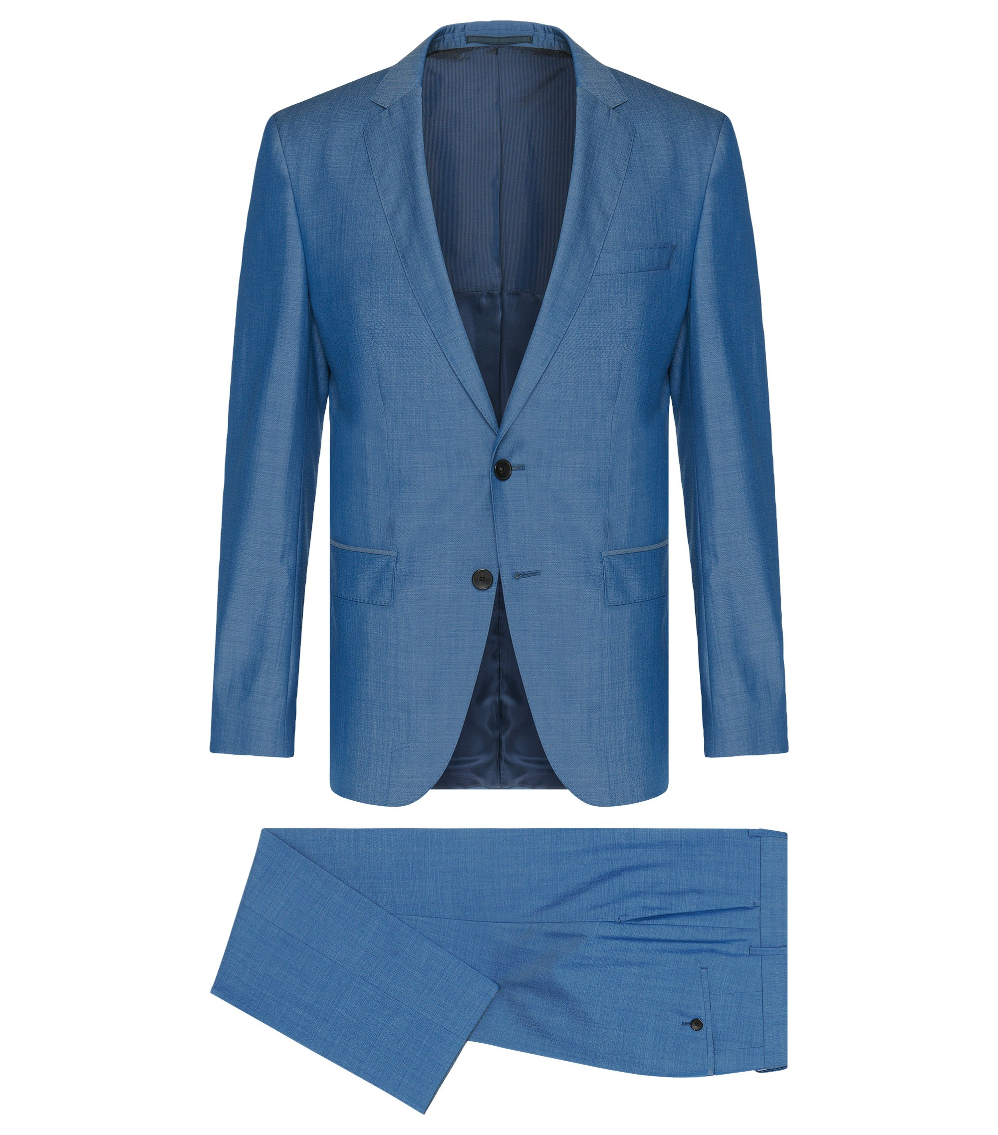 Italian Super 130 Virgin Wool Suit, Slim Fit | Huge/Genius, Turquoise