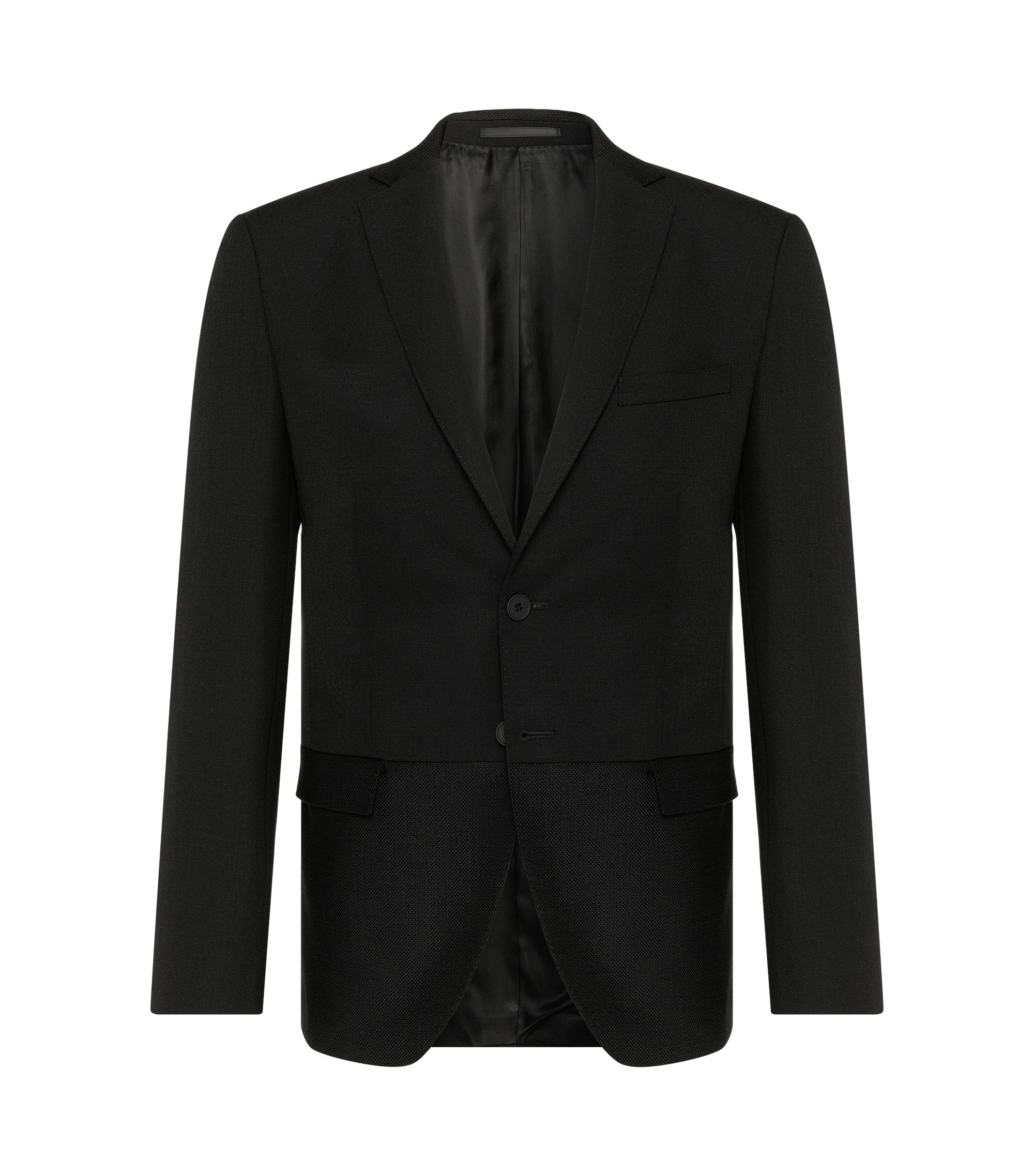 Virgin Wool Mohair Sport Coat, Extra Slim Fit | Reevon, Black