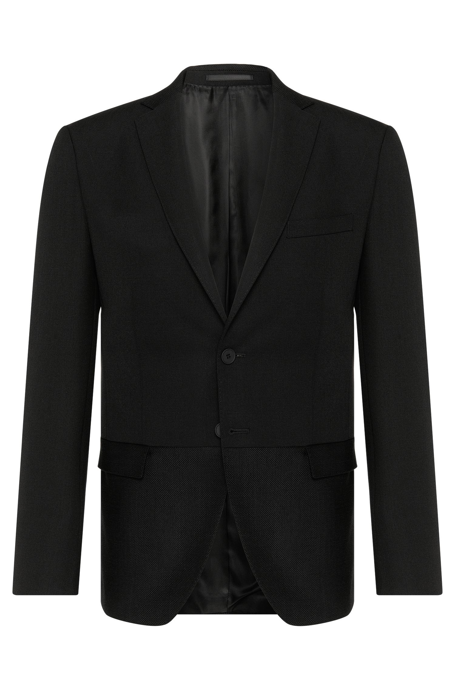 Virgin Wool Mohair Sport Coat, Extra Slim Fit | Reevon, Black