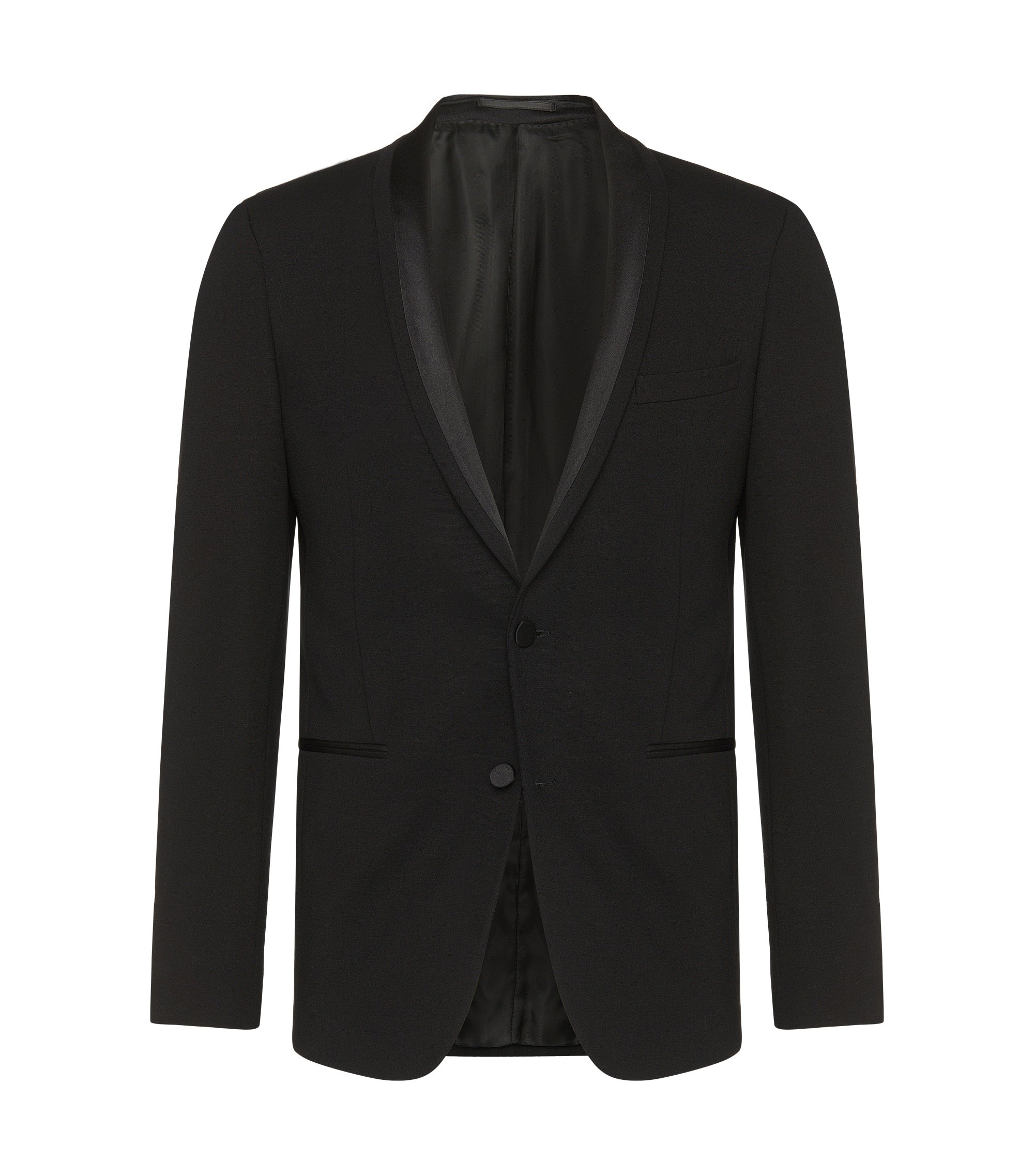 Stretch Jersey Satin Dinner Jacket, Extra Slim Fit | Reaman , Black