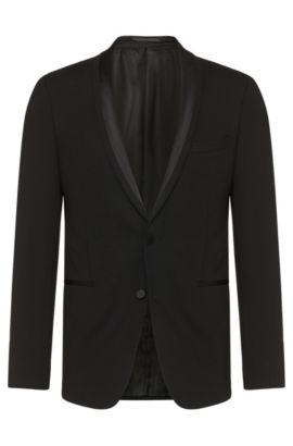 Stretch Jersey Satin Dinner Jacket, Extra Slim Fit | Reaman , Black