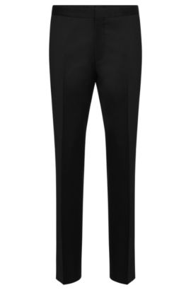 'Godwin' | Slim Fit, Super 120 Italian Virgin Wool Dress Pants, Black