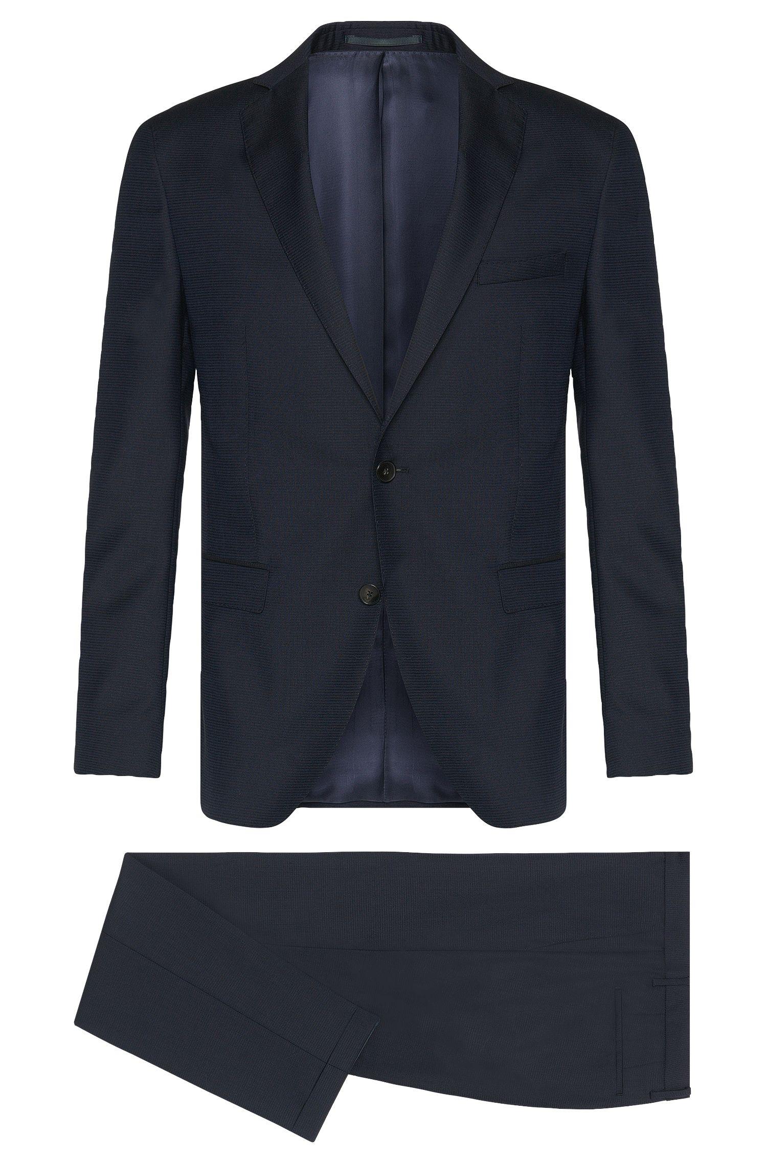 Stretch Virgin Wool Suit, Extra-Slim Fit   Reyno/Wave