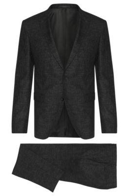 Metallic Super 100 Italian Virgin Wool Suit, Extra-Slim Fit | Reyno/Wave, Black