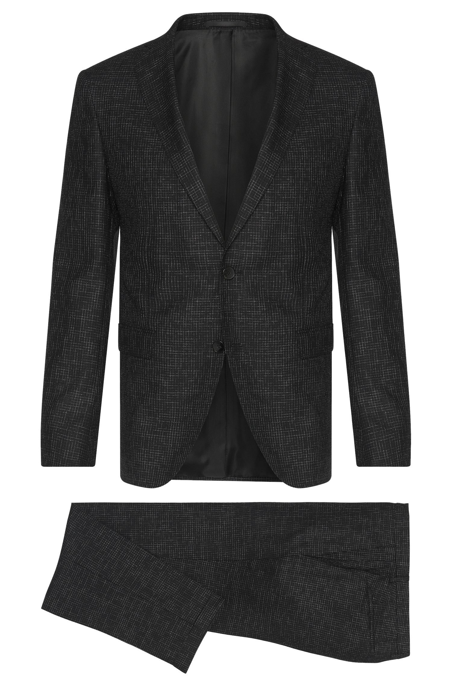 Metallic Super 100 Italian Virgin Wool Suit, Extra-Slim Fit | Reyno/Wave, Black
