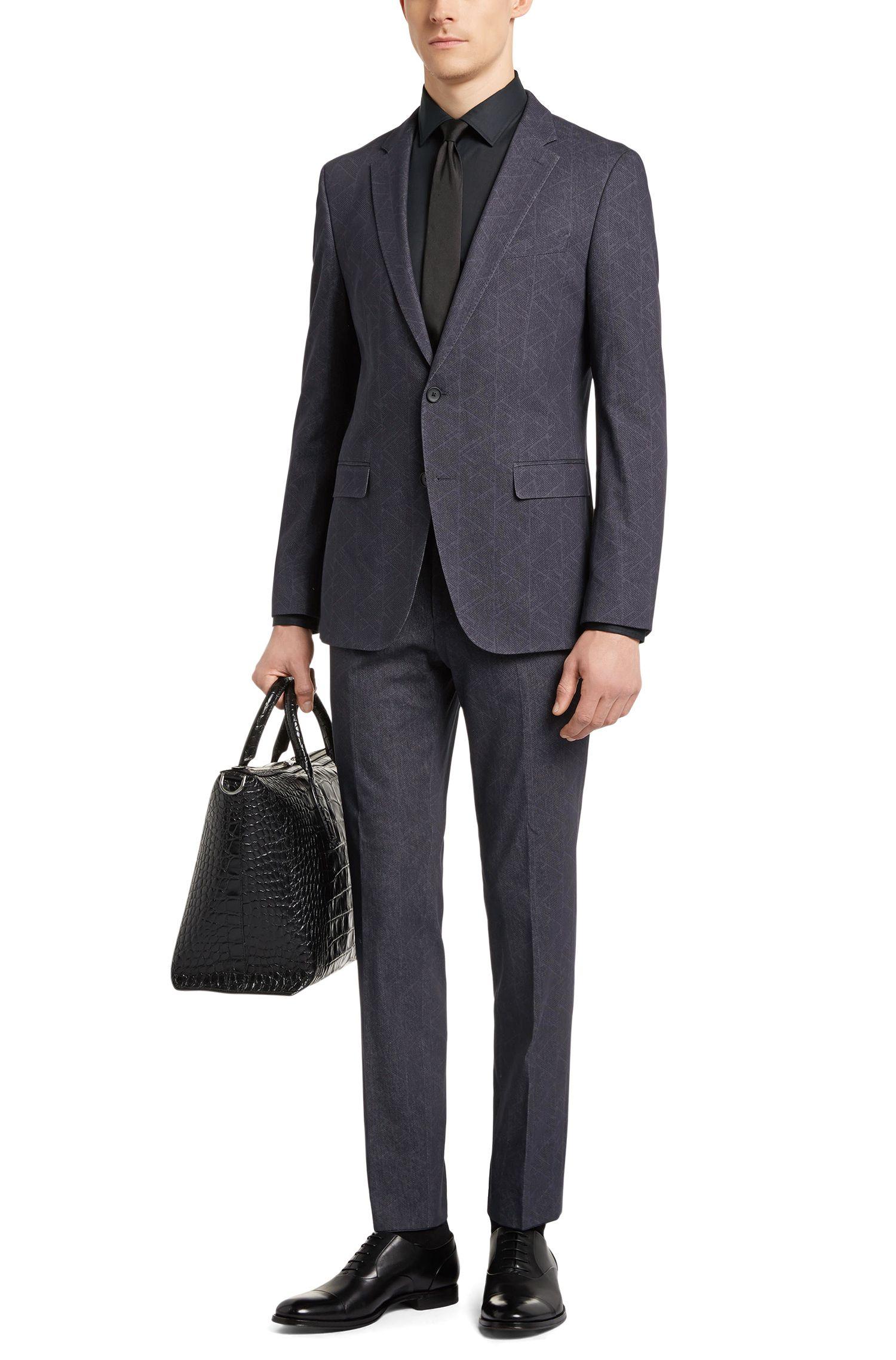 Geometric Stretch Cotton Suit, Slim Fit | Novan/Ben, Charcoal